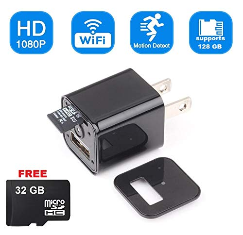 USB Hidden Spy Camera WiFi – by DENT Products, Live View, Motion Detection, Supports 128gb Micro sd Card, Free 32gb Micro sd Card, Nanny Spy Pet Baby Security Surveillance Camera