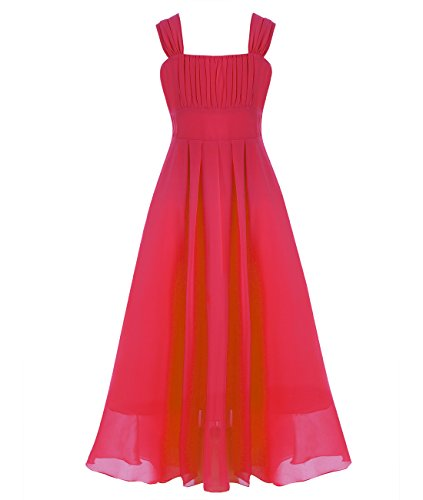 YiZYiF Girl's Kid's Chiffon A-line Ruched Sleeve Flower Girl Party Maxi Long Dress (10, Red) (Teen Christmas Dress)