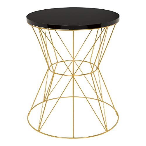 (Kate and Laurel Mendel Round Metal End Table, Black Top with Gold Base)