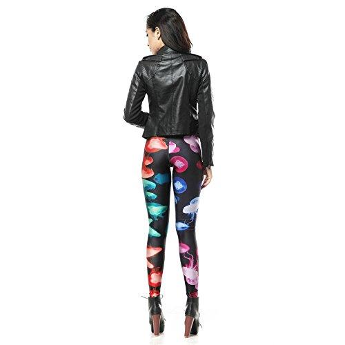 Lmzyan Las señoras impresión Digital Slim Moda Moda Moda Colorido 3D estiran Medias Polainas 1a0d59