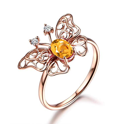 Epinki 925 Sterling Silver Ring Butterfly Unique Women Rings Solitaire Rose Gold with Yellow Citrine Puzzle Ring Claddagh Size 7