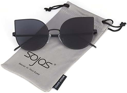 SojoS Cat eye mirrored flat lenses Ultra Thin Light metal women Sunglasses SJ1022