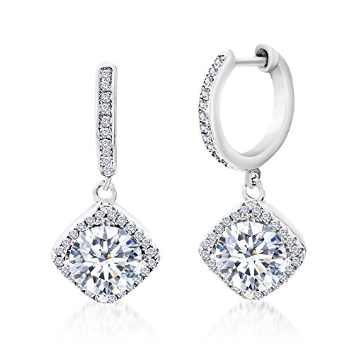 Mia Sarine Rhodium Plated Silver Cubic Zirconia Diamond Drop Dangle Huggie Women's Earrings