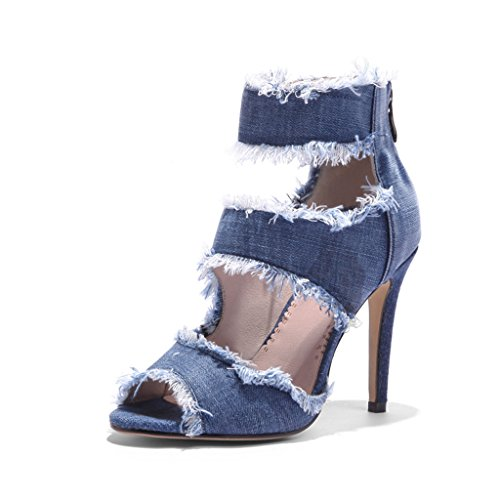 870b4a3eb2e7b SANDALIAS Verano Denim Mujer Tacones Talón Delgado Zapatos De Mujer Boca De  Pescado 80% OFF