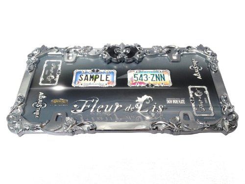 Cruiser Accessories Fleur De Lis License Plate Frame with Adjustable Emblem (Chrome with Black Accent)