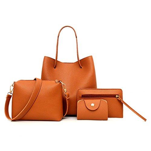 Moda Bolsos para Mujer, WINWINTOM Casual Bolsos de Totes Mano, 4PCS Mujer Patrón Bolso + Bolso Crossbody + Bolsa de Mensajero + Paquete de Tarjeta marrón