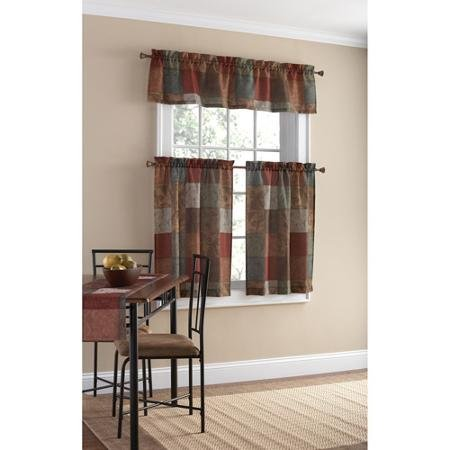 - Patchwork Design Polyester Small Curtain Panel and Valance Set