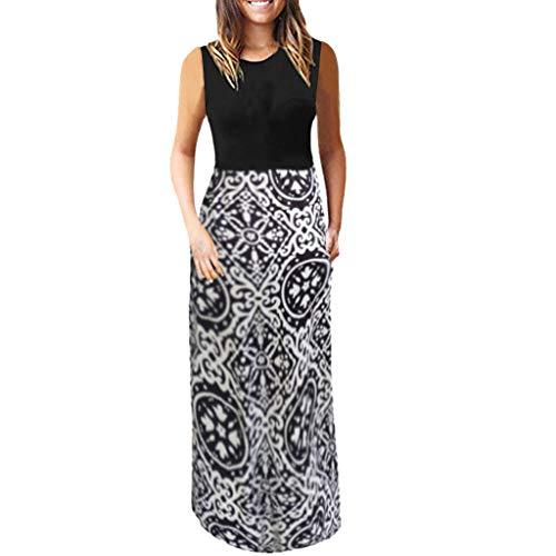 (DondPo Fashion Womens Boho Midi Dress Folk Custom Floral Print Long Summer Causal Sleeveless Camisole Maxi Dresses)