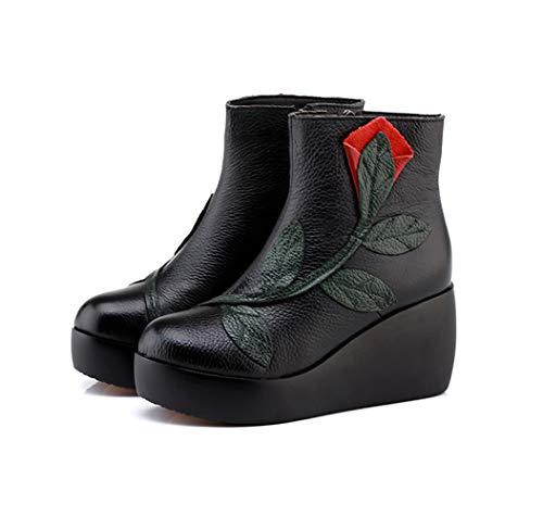 Tacón Black Redondo De Botas Con Lateral Cremallera Cuero Alto Para Nacional Hrn Viento Martin Cuñas Mujer Botines Algodón qRU1XX4w