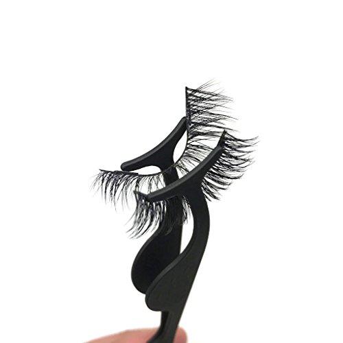 Tweezers Magnetic (Black False Eyelashes Applicator - Stainless Steel Eyelash Tweezers / Fish Tail Clip - Compatible With Magnetic Eyelashes)