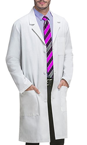 VOGRYE Professional Lab Coat for Women Men Long Sleeve, White, Unisex L