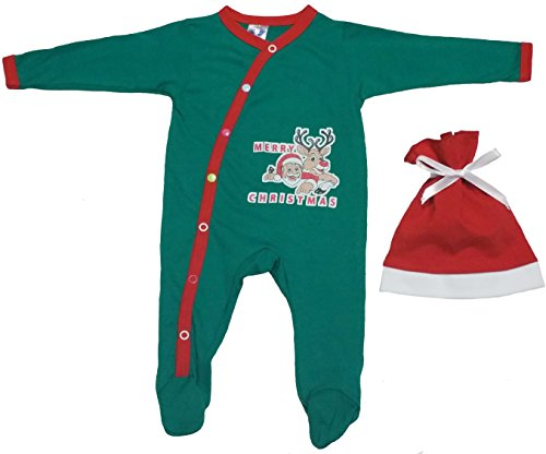 Baby First Christmas Outfit For Infants with Reindeer and Santa Prints by TenTeeTo (0-3 Months, Green) (Presents 2017 Time Noel's Christmas)