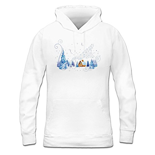 Sudadera con capucha de mujer Winter Landscape And House by Shirtcity Blanco