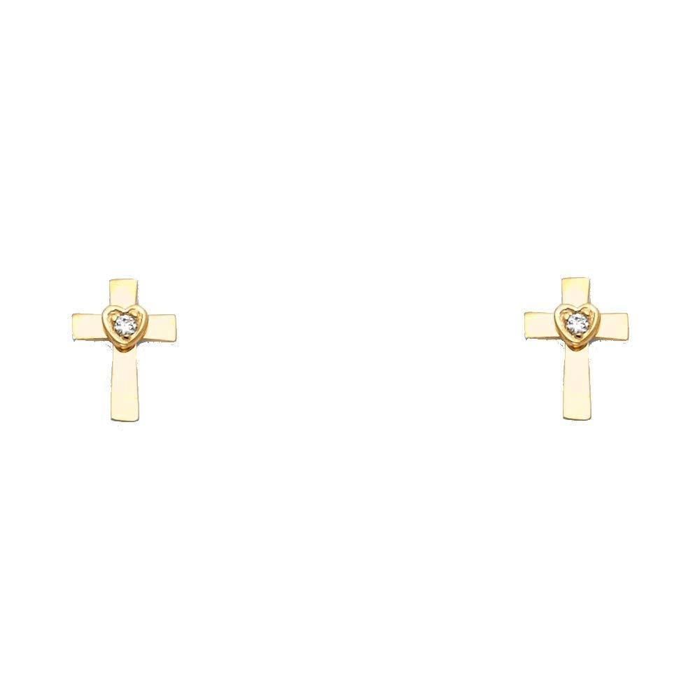 Wellingsale 14K Yellow Gold Polished Cross Heart Stud Earrings With Screw Back
