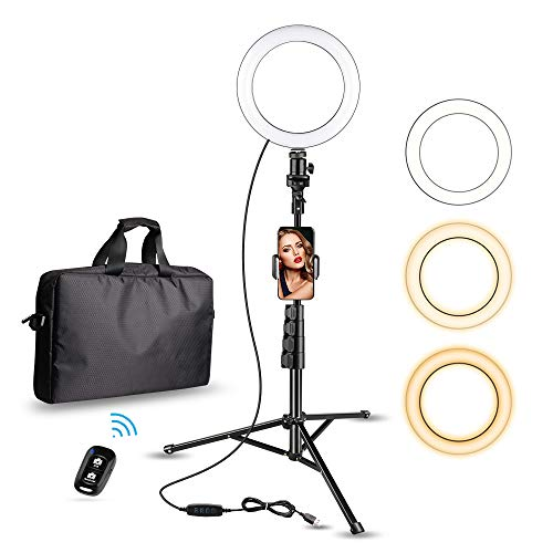 8' Selfie Ring Light with Cell Phone Holder, Aureday LED Lightning Tripod Stand with Carry Bag for Makeup & YouTube Stream, Fits iPhone & Android Phone