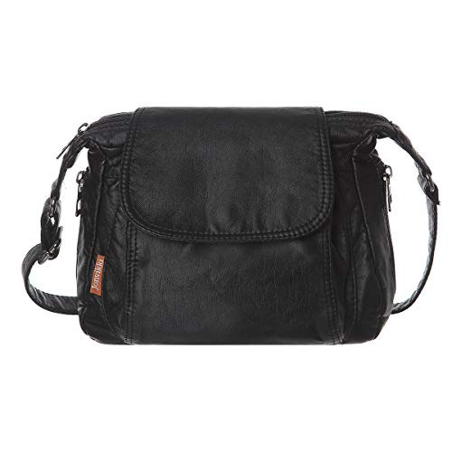 Women Multi Classify Pockets Medium Crossbody Purse Soft Synthetic Leather Shoulder Bag(Black)