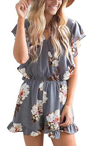 Angashion Women's Jumpsuits - Ruffle Cap Sleeves Wrap V Neck Floral Print Elastic Waist Short Rompers Gray ()