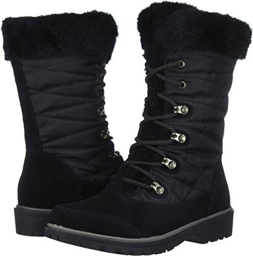 BareTraps Women's Satin Snow Boot, Black, 9.5 M US