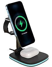 LFX-171 شاحن لاسلكي مغناطيسي مزدوج لهاتف iPhone 12/11/X / 8 / Apple Watch / Airpods/Smart Phone يدعم Qi Wireless - قاعدة شحن قابلة للطي 3 في 1 Magsafe - أسود