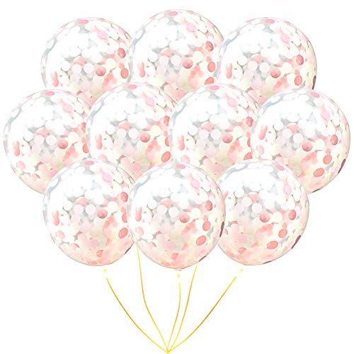Rose Gold Confetti Balloons | 10 pack Large 18 Rose Gold Confetti, Light Pink and White Confetti Pre-Filled, Bat Mitzvah Wedding Party Birthday Graduation Event