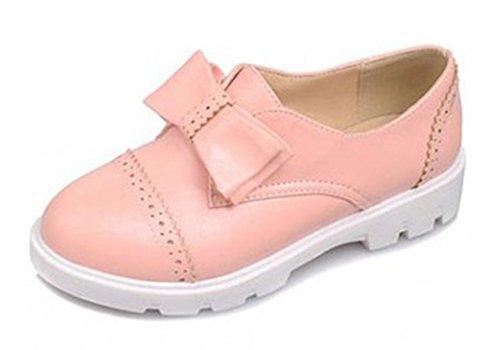 Aisun Donna Carino Tondo Punta Alta Cime Piattaforma Slip On Scarpe Piatte Oxford Scarpe Con Fiocchi Rosa