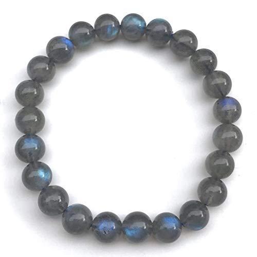 Genuine Natural Blue Light Labradorite Men Women 6mm Gemstone Beads Dainety Stretch Bracelet 6-8 Good Vibes Insomnia Stress Depression Healing Stone