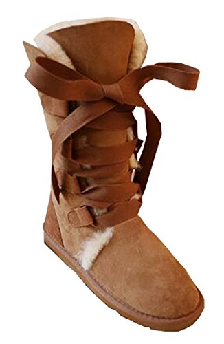 color Chestnut Boots Gaotong Sheepskin lady snow shoes wx7MFg4qB