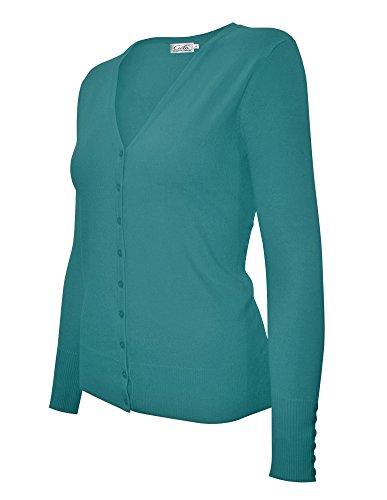 Cielo Women's Knit Silk Soft Cardigan Sweater, V-neck (Large, SW205 D. Green)