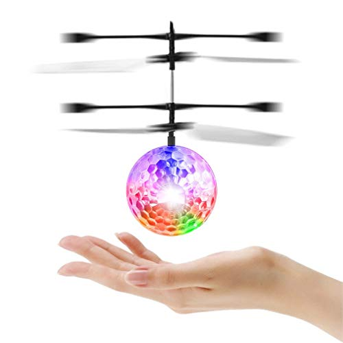 Flying Ball Toys Mini RC Infrared Induction Helicopter Drone - Built-in LED Colorful Lights Flying Drone for Kids Toys, Toy for Boys and Girls