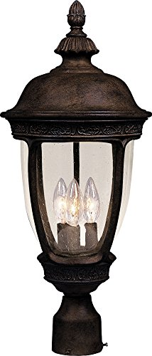 Maxim 3460CDSE Knob Hill Cast 3-Light Outdoor Pole/Post Lantern, Sienna Finish, Seedy Glass, CA Incandescent Incandescent Bulb , 60W Max., Dry Safety Rating, Standard Dimmable, Frosted Glass Shade Material, Rated Lumens (Pendant 7 Mount Outdoor)