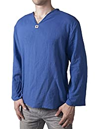 Men's T-Shirt 100% Cotton Hippie Shirt V-Neck Beach Yoga Top