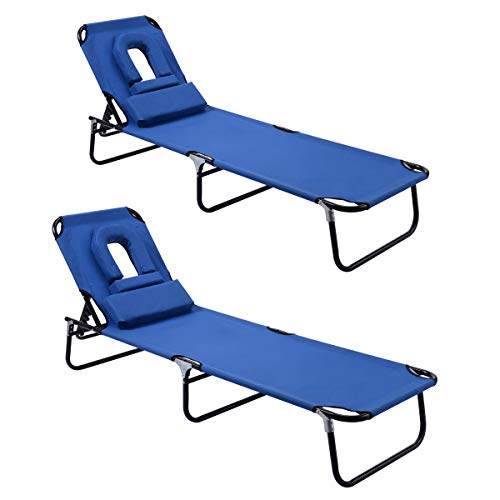 Goplus Folding Chaise Lounge Chair, Adjustable Back Outdoor Beach Pool w/Tanning Face Down Hole (Blue 2 Pieces)