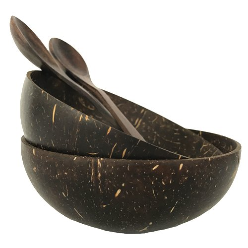 The Wooden Bowl (Coconut Bowl with Wooden Spoon - Hand Made Reclaimed Coconut Water Shell Polished with Organic Virgin Coconut Oil - by Truly Vegan (Set of 2))