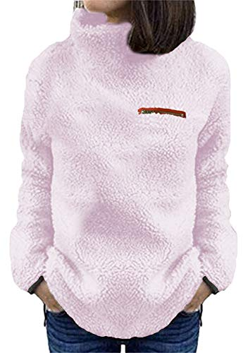 (onlypuff Pink Sherpa Fuzzy Sweaters for Women Long Sleeve Warm Tops Casual Solid Color Shirt S)
