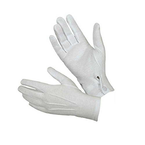 White Cotton Gloves, Malltop Men Police Formal Gloves For Tuxedo, Honor Guard, Parade And Santa Men (Disposable Santa Costume)