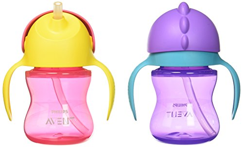(Philips Avent My Bendy Straw Cup, 7oz, 2pk, Pink/Purple, SCF790/22)