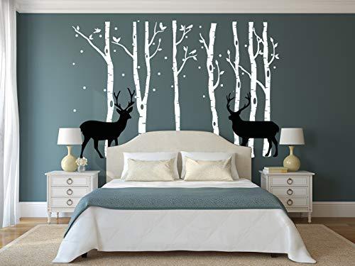 LUCKKYY Large Set of 7 Birch Tree Deer Wall Decal Forest Birch Trees Birch Trees Vinyl Kids Vinyl Sticker Vinyl Wall Decal ()