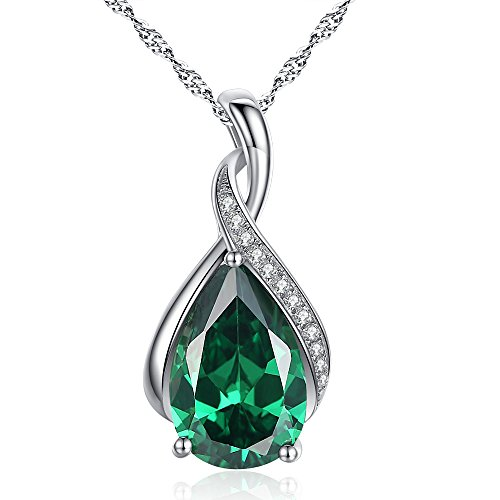 Devuggo MABELLA Jewelry Sterling Silver Simulated Emerald Birth Month Stone Pendant Necklace Gifts for Women