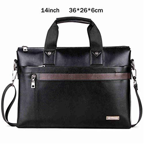 Simple Dot Famous Business Men Briefcase Bag Leather Laptop Bag Casual Shoulder Bags small black 14inch