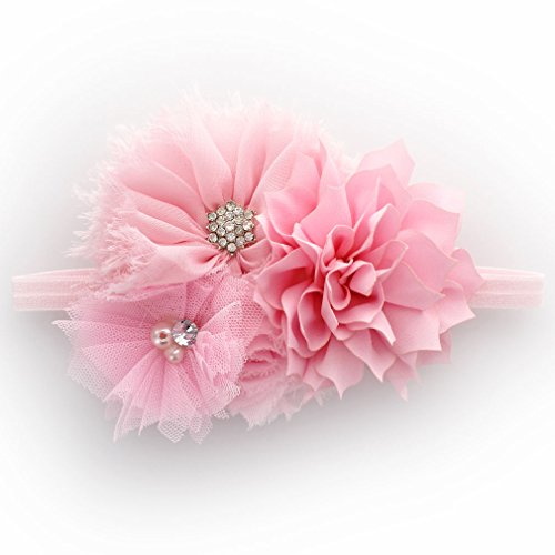 My Lello Infant Baby Headband Shabby Fabric Flower Cluster (Light Pink) (Some Pink Flowers)