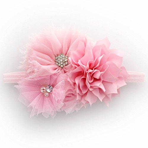 My Lello Infant Baby Headband Shabby Fabric Flower Cluster (Light (Light Pink Flower)