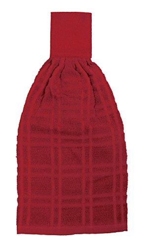 RITZ KitchenWears 100% Cotton Terry Hanging Kitchen Tie Towel, Paprika Red (Red Hanging)