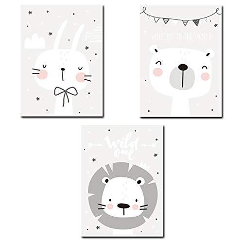 (PONOSIR Animal Nursery Decor Wall Art Print A4 Set 8.27