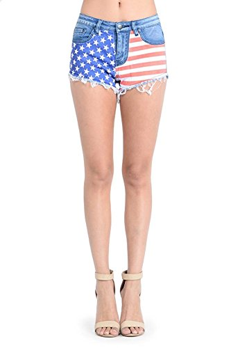 Women's American Flag Denim Shorts - Blue-Full - 2X-Large - M1A