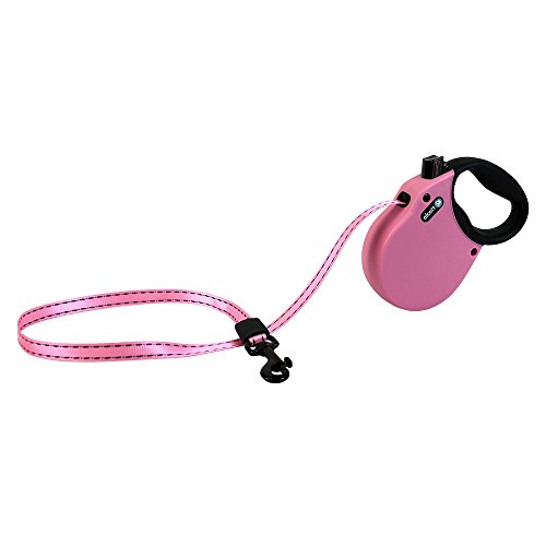 Alcott Adventure Retractable Reflective Belt Leash, 10' Long, Extra Small for Dogs Up to 25 lbs, Pink with Black Soft Grip Handle