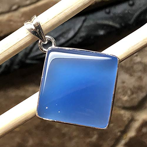 Natural Blue Chalcedony 925 Solid Sterling Silver Pendant 40mm Long