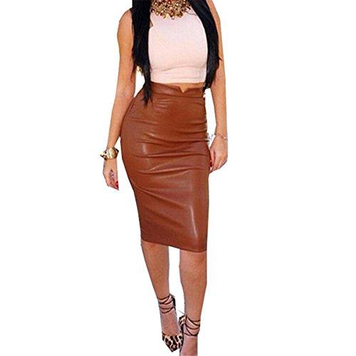 - Hemlock Sexy Leather Skirt, Women High Waist Slim Dress Pencil Party Skirt (M, Brown)