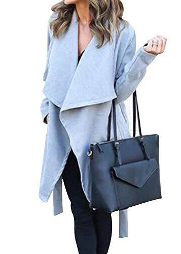 Femme Manteau Elgante Printemps Automne Loisir Long Manches Cardigan Ouvert Uni Manche Costume Baggy Fashion Longues Trench Outerwear Blau
