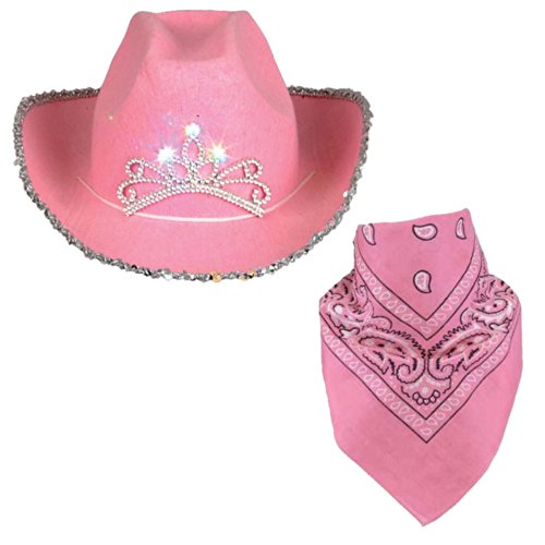 Cowgirl Costumes Adults (Cowboy Hat for Adults - Felt Cowboy Hats w/ Paisley Bandana by Funny Party Hats)