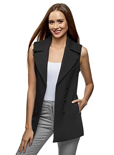 oodji Collection Women's Long Vest with Decorative Buttons, Black, US 12 / EU 46 / XXL